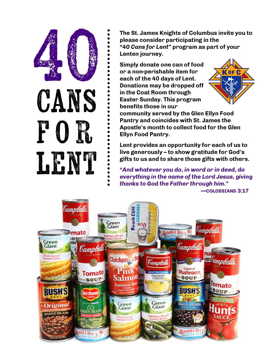40 Cans for Lent 2018